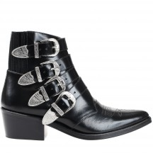 toga-pulla-ankle-boots-silver-buckles-ankelstovler-Black-leather-aj006