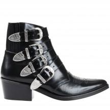 toga-pulla-ankle-boots-silver-buckles-ankelstovler-Black-leather-aj006