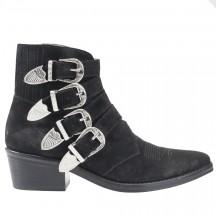 toga-pulla-ankle-boots-silver-buckles-ankelstøvler-sort-ruskind-AJ006