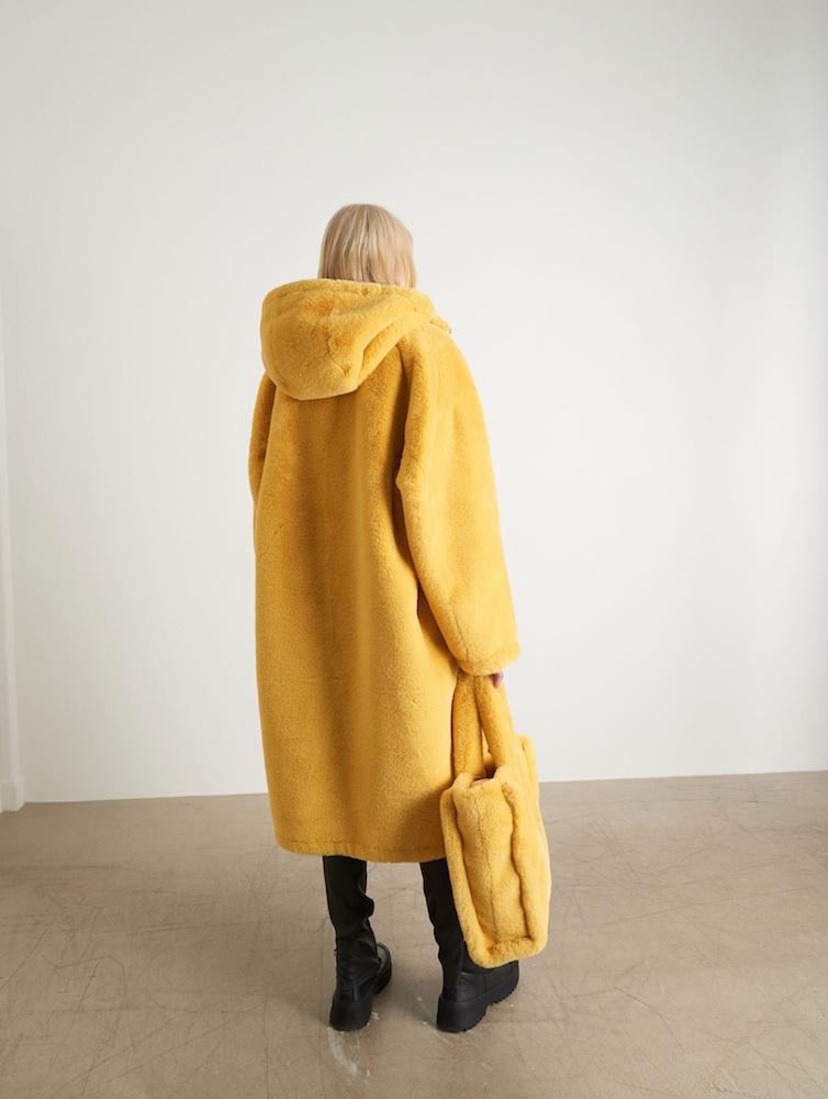 Claudia Vendbar Jakke, Fake Fur Nylon, SortSort (Stor i str.)
