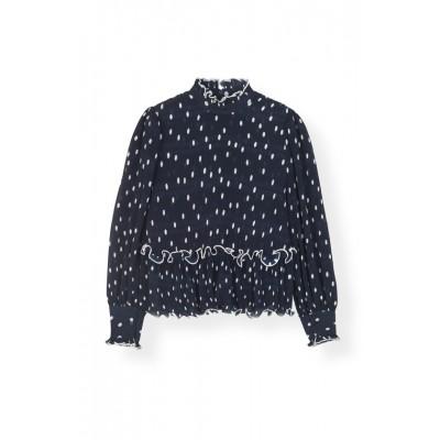 Ganni-pleated-georgette-bluse-overdel-blå-F3170