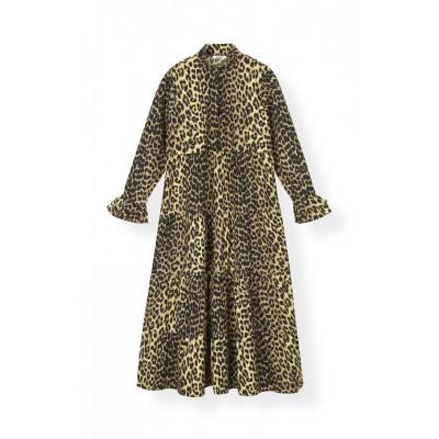 ganni-printed-cotton-kjole-leopard-f3408