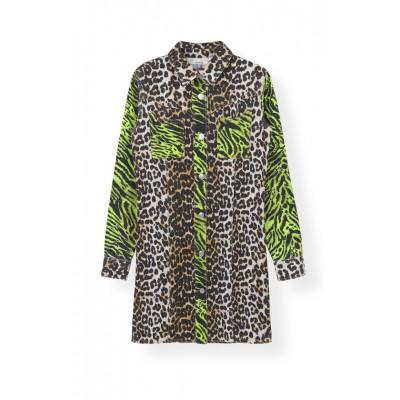 Ganni-Print-Denim-Skjorte-Kjole-Overdel-Leopard-F3715