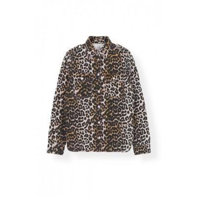Ganni-Print-Denim-Skjorte-Overdel-Leopard-F3720