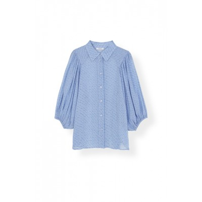 Ganni-Printed-Georgette-Skjorte-Overdel-Lyseblå-F3982