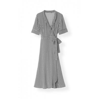 Ganni-slå-om-kjole-sort-F3986