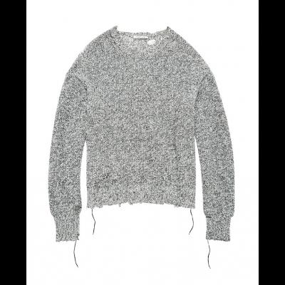 Helmut-lang-distressed-strik-sweater-sort-hvid-I06HW703 -1
