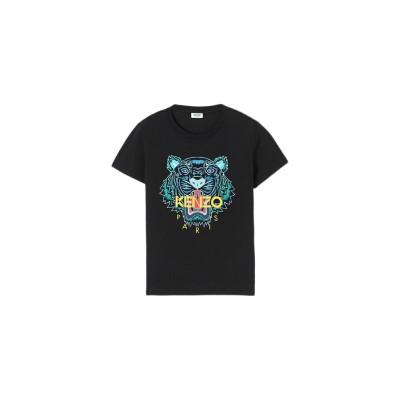 kenzo-tiger-t-shirt-sort-logo-overdel-FA52TS7214YB