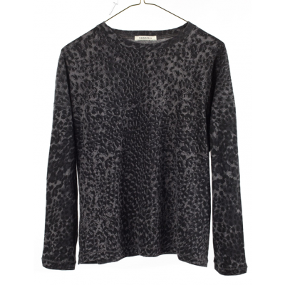 Ragdoll-la-bluse-overdel-t-shirt-leopard-mørkegrå-S247