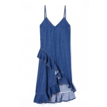 Kenzo-asymmetrisk-kjole-denim-F952RO2406EE