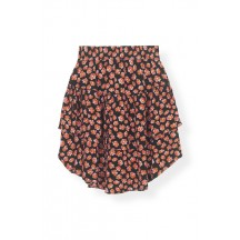 Ganni-printed-crepe-nederdele-rød-f3104
