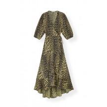 Ganni-printed-cotton-slå-om-kjole-leopard-F3424