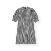 Ganni-printed-crepe-kjole-sort-F3651