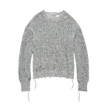 Helmut-lang-distressed-strik-sweater-sort-hvid-I06HW703 -1