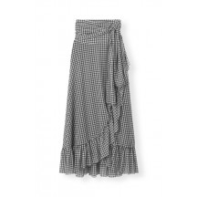 Ganni-printed-mesh-slå-om-nederdel-sort-T2347