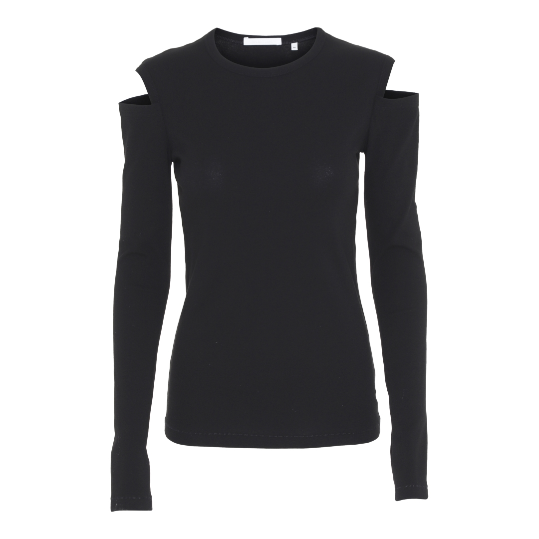 best cheap ec99b da71a Slash Langærmet t-shirt m/skulder detalje, Sort
